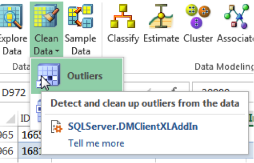 Select Outliers from the Clean Data menu